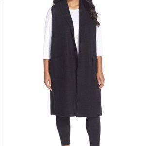 Eileen Fisher Black Wool Open Front Long Cardigan